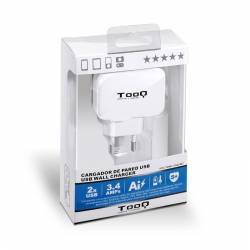 TooQ TQWC 1S02WT Cargador de pared 2 USB Blanco