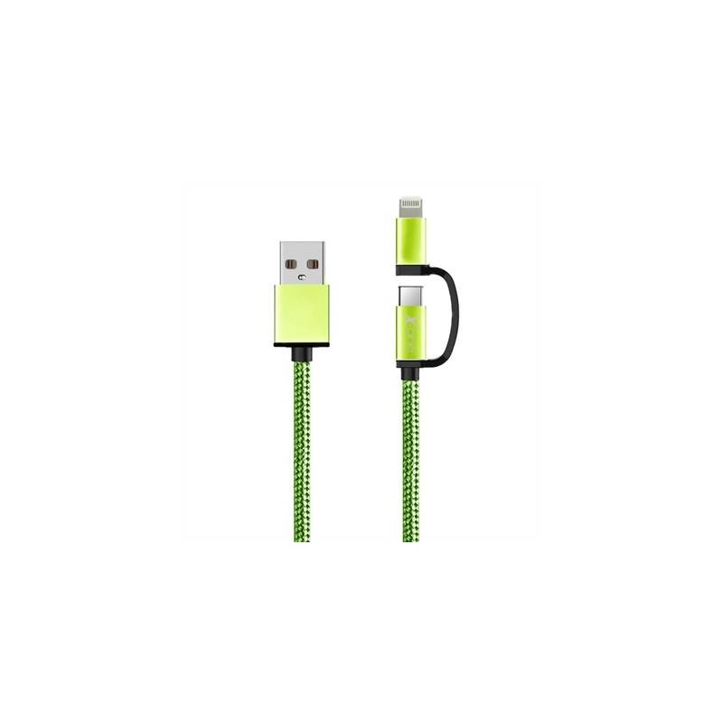 X One CDL1000GR Cable USB a Micro iPhone Verde