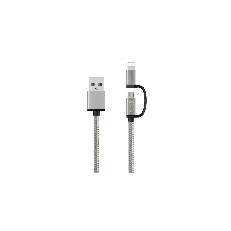 X One CDL1000S Cable USB a Micro iPhone Plata