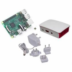 Raspberry kit Pi 3 caja bca roja fuente 51V b