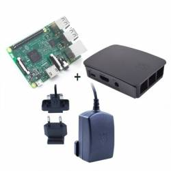 Raspberry kit Pi 3 caja negra fuente 51V negra