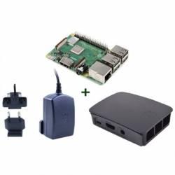 Raspberry kit Pi 3 B caja negra fuente negra