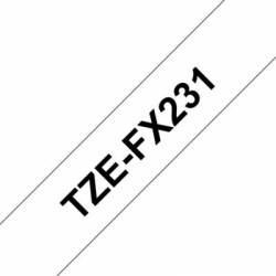 Brother TZEFX231 Blanco Negroflexibles 12mm