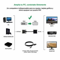 CONVERSOR DVI 241 M A VGA HDB15 H NEGRO 10 CM