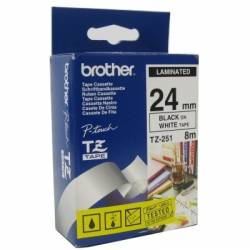 Brother TZe251 cinta laminada 24mm Blanco Negro 8m